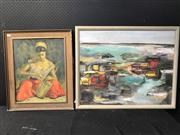 Sale 8953 - Lot 2075 - Group of Assorted Artworks incl. Vintage Prints and Abstract Paintings, plus Chinese Silk Embroidery and a Quaint Landscape Painitng