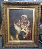 Sale 9053 - Lot 2027 - Artist Unknown Young Girl with Dog & Kittens, oil on canvas (AF- puncture to lower centre), 85 x 65 cm, unsigned