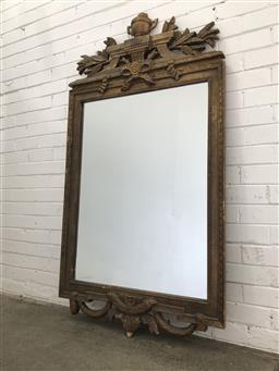 Sale 9097 - Lot 1084 - Louis XVI Style Mirror, surmounted by an urn & laurel leaves, with festoons below. H: 166 x W: 90cm