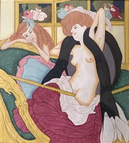 Sale 9142A - Lot 5036 - FRANZ VON BAYROS (1866 - 1924) - Dessins Amoureux: Le Jardin DAphrodite (The Love Swing), 1907 16 x 14.5 cm