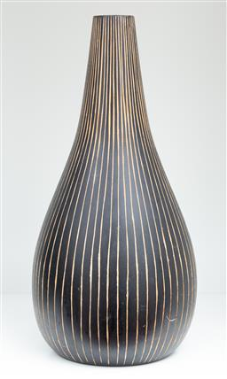 Sale 9150H - Lot 55 - A carved timber vase with a black finish with vertical lines, height 30.5cm