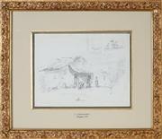 Sale 8870A - Lot 554 - Camille Pissarro (1830 - 1903) - Figure in front of hut; Plantain Tree, Venezuela c1854 (double-sided) 20.3 x 26 cm