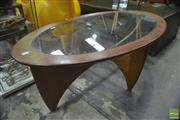 Sale 8326 - Lot 1038 - G-Plan Oval Atmos Coffee Table with Glass Top
