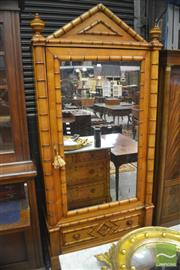 Sale 8335 - Lot 1024 - Late 19th Century French Faux Bamboo Cherry Wood Wardrobe, with mirror panel doors, above a drawer & concealed apron drawer (2 x Key...