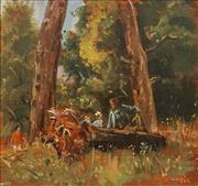 Sale 8624 - Lot 548 - William Dargie (1912 - 2003) - Bush Children 26 x 28cm