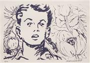 Sale 8666A - Lot 5069 - David Bromley (1960 - ) - Boy with Flower 21 x 30cm