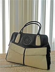 Sale 8858H - Lot 90 - Mike Mike Designer Black Leather Handbag with Cream Unshaved Hide Trim and Front Pockets, H 27 x W 40 cm -