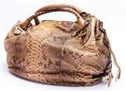 Sale 8921 - Lot 66 - A BALLY PYTHON SKIN VILDA BAG; with rolled handles, gold tone hardware and toggle tassel (1 missing), with gold material interior wi...