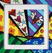 Sale 9047A - Lot 5003 - Romero Britto (1963 - ) - Flying Heart 34 x 34 cm (frame: 53 x 53 x 6 cm)