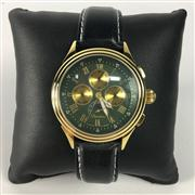 Sale 8292B - Lot 93 - A ROUSSEAU AUTOMATIC WRISTWATCH, with four subsidiary dials and moon phase aperture on leather band, new in gift box.