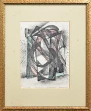 Sale 8330A - Lot 20 - Frank Hinder (1906 - 1992) - Structure with Currawong 26.5 x 19cm