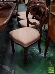 Sale 8485 - Lot 1053 - Set of 8 + 2 Victorian Walnut Chairs, with balloon backs, upholstered in pink diaper fabric & on turned legs