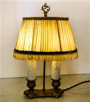 Sale 8516A - Lot 2 - A French mercury gilded bronze girandole lamp with original pleated shade, girandole restored and rewired, with original shade, c191...
