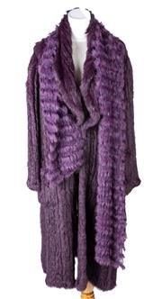 Sale 8550F - Lot 2 - A Harry Who aubergine ribbed rabbit fur 3/4 coat, with matching attachable scarf, size 10.