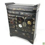 Sale 8649R - Lot 62 - C19th Black Laquer Oriental Cabinet with Gilt Floral Motifs (47 x 36.5 x 16cm)