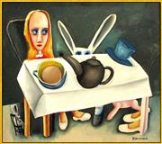 Sale 8723A - Lot 5011 - Charles Blackman (1928 - 2018) - Feet Beneath the Table 106 x 121cm (frame: 110 x 125cm)