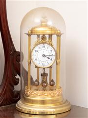 Sale 8804A - Lot 114 - A good Gustav Becker 400 day or anniversary clock in gilt brass and with glass dome, Height 42cm