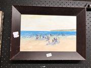 Sale 8797 - Lot 2075 - Donald Fraser - Beach Scene, Oil Painting, SLL