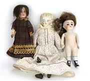 Sale 8330T - Lot 92 - Three Early 20th Century Bisque Head Dolls; The Société Française de Fabrication de Bébés et Jouets with painted eyes and painted ar...