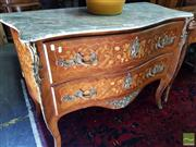 Sale 8469 - Lot 1018 - Spanish Marble Top Serpentine Front 2 Drawer Commode Maker Verso