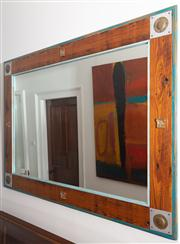 Sale 8595A - Lot 6 - A recycled pine mirror with painted details and appliques, 110 x 153cm
