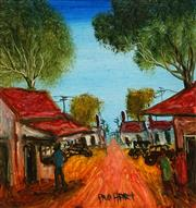 Sale 8675 - Lot 518 - Kevin Charles Pro Hart (1928 - 2006) - Rural Town Scene 19 x 20cm