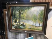 Sale 8707 - Lot 2067 - James Leslice - Lunch by the Lake, oil on board, SLR