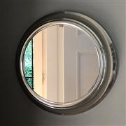 Sale 8741A - Lot 21 - Round porthole mirror with stainless steel frame (400mm)