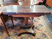 Sale 8814 - Lot 1094 - Early Victorian Rosewood Card Table, on turned tapering pedestal with quadraform base (slight loss to veneer)