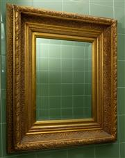 Sale 8990H - Lot 52 - A rectangular bevelled edge gilt frame mirror with carved foliate decoration Height 66cm x Width 55cm