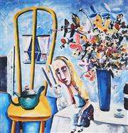 Sale 9034A - Lot 5037 - Charles Blackman (1928 - 2018) - Alice on the Table 73 x 67 cm (frame: 112 x 101 x 2 cm)