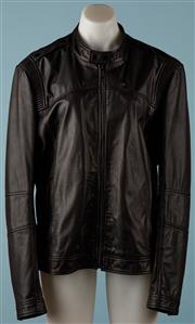 Sale 9080F - Lot 6 - A MENS HUGO by HUGO BOSS BLACK LEATHER JACKET; new with tags, style Lansor, size L.