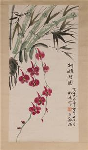Sale 9078 - Lot 502 - Two Scrolls featuring bamboos and plum blossoms