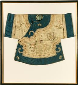 Sale 9122 - Lot 96 - Framed Qing Dynasty Chinese Opera Robe In Ivory & Blue (Frame size 152cmx138cm)