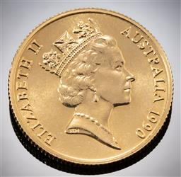 Sale 9153C - Lot 331 - AUSTRALIAN TWO HUNDRED DOLLAR GOLD COIN; 1990 Platypus, 22ct gold, wt. 10.01g.
