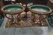Sale 8335 - Lot 1043 - Pair of Georgian Style Beech Jardiniere Stands, with green metal liners, brass galleries & reeded cabriole legs, joined by a cross f...