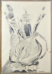 Sale 8339A - Lot 517 - Anne Hall (1945 - ) - Brushes in a Merric Boyd Pot, 1968 101 x 69.5cm (sheet size)