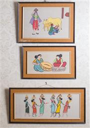 Sale 8375A - Lot 82 - Three colourful framed oil on linen paintings of Indian women