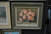 Sale 8441T - Lot 2027 - Olive McAleer (1980s - 1990s) - Pink Roses 37 x 44.5cm