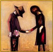 Sale 8723A - Lot 5012 - Charles Blackman (1928 - 2018) - The Meeting 119 x 119cm (frame: 122 x 122cm)