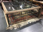 Sale 8795 - Lot 1016 - Large Glass Top Coffee table with Wrought Iron Base