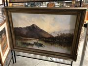 Sale 8903 - Lot 2027 - Charles E Astley (1869 - 1929) New Zealand Lake Scene with Figure 1910 oil on canvas, 86 x 126cm (frame), signed and dated