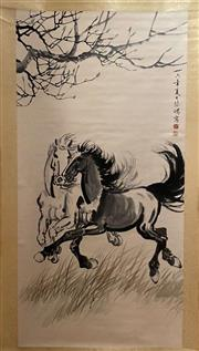 Sale 8985 - Lot 32 - A Chinese Scroll of Horses Galloping, Ink and Colour on Paper