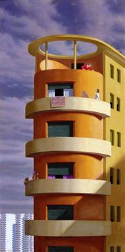 Sale 9038 - Lot 562 - Jeffrey Smart (1921 - 2013) - The Conversation, Lungotevere Flaminia 104 x 55.5 cm