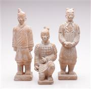 Sale 9052 - Lot 362 - Collection of Three Terracotta Warrior Figures (H:25cm)