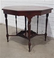 Sale 9068 - Lot 1092 - Victorian Rosewood Octagonal Occasional Table, with central rosette, turned legs joined by stretchers supporting a gallery shelf (h:...