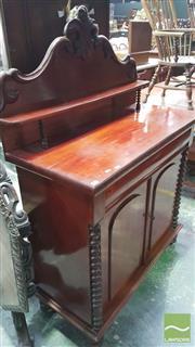 Sale 8375 - Lot 1054 - Late C19th Cedar Chiffonier with bobbin-turned half columns (Key in Office)