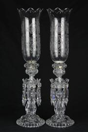 Sale 8441 - Lot 10 - Baccarat Crystal Pair of Storm Lanterns