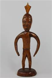 Sale 8520T - Lot 27 - Timber Cultural Figure of A Man with Arrow Hair Piece and Vanished Finish ( H 39cm)