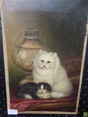 Sale 8557 - Lot 2009 - J. James (C19th) - Kittens, oil on canvas, 31 x 20cm, signed lower right